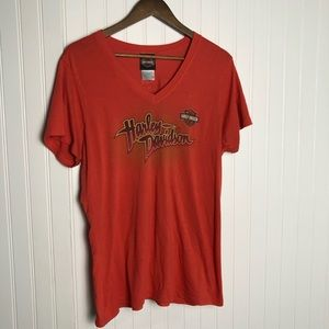 Harley Davidson orange Arizona V-neck women shirt